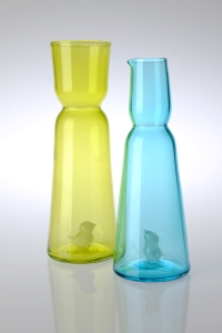 Glass. Vase: 32cm x 11 cm. Jug: 29 cm x 10 cm. Available in Blue, Lime, and Saffron.