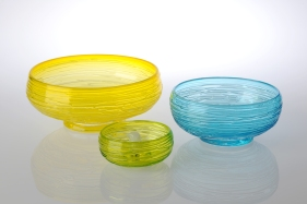Glass. Large Bowl: 30 cm x 11 cm. Medium Bowl: 23.5 cm x 9 cm. Small Bowl: 6 cm x 14 cm. Available in Blue, Lime, and Saffron.