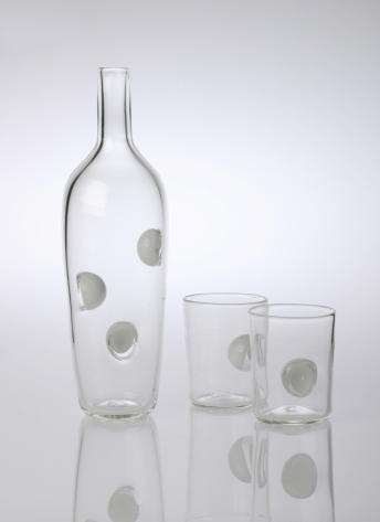 Blown Glass. Bottle: 30 x 10 cm, Cup: 10 x 8 cm.