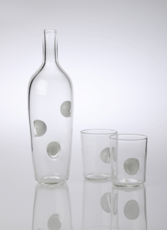 Blown Glass. Bottle: 30 x 10 cm, Cup: 10 x 8 cm.