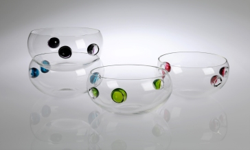 Squat Niche Bowl: Glass. 12 cm x 26 cm. Purple, Blue, Lime and Ruby. Also available in custom colors.