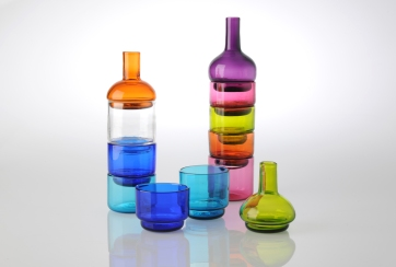 Both constructed and deconstructed sets. Blown Glass.